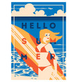 summer holiday and surf camp poster vector image