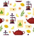 tea ceremony - teapot french press cup lemon vector image vector image