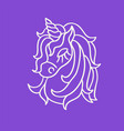 unicorn head white outline sketch icon on the vector image vector image