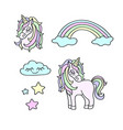 unicorns rainbow clouds stars magic set vector image