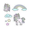 unicorns rainbow clouds stars magic set vector image vector image
