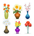 vases with flowers set vector image