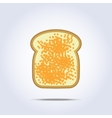 White bread toast icon with caviar vector image