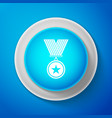 white medal with star icon on blue background vector image
