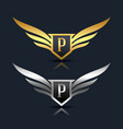 wings shield letter p logo template vector image vector image