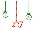 with ball and snowflake Christmas greeting card vector image