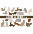 20 cats silhouettes various design set vector image vector image