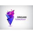 3d origami geometric men logo people vector image vector image