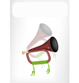 A Musical Bugle with A White Banner vector image vector image