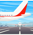 a standing airplane in airport a flying plane in vector image vector image