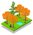 autumn forest concept banner isometric style vector image vector image