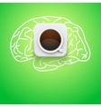 Background of cup coffee and brain vector image vector image