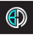 bd initial logo linked circle monogram vector image vector image
