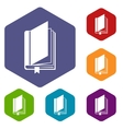 Book with bookmark icons set vector image