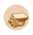 bread toast several bread toasts lying on top of vector image