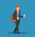 businessman holding coffee cup in his hand vector image vector image