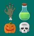 cartoon halloween set pumpkin hand skull flask vector image