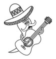 chilli pepper with mexican hat and guitar vector image vector image