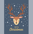 christmas reindeer gift card vector image vector image