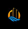 cityscape modern building logo vector image