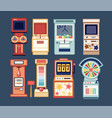 collection arcade video games coin-ops and vector image