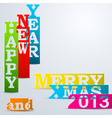Colorful Happy New Year Merry Xmas paper strips vector image vector image