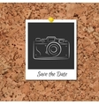 corkboard with instant photo card vector image vector image