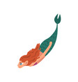 cute little red haired mermaid swimming in sea vector image vector image