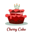 dessert food or cherry cake with candles vector image vector image