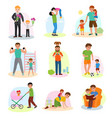 father and child dad and kids daughter or vector image vector image