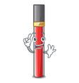 finger lip gloss above cartoon makeup table vector image