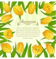 Floral card with yellow tulips on background vector image vector image