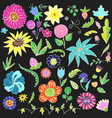 floral doodle elements for design hand-drawn vector image vector image
