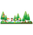 four kids playing in playground vector image vector image