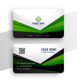 geometric green business card professional design vector image vector image