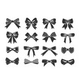gift bows black glyph icons set vector image
