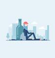 homeless man - modern flat design style vector image