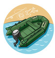 inflatable rubber boat vector image