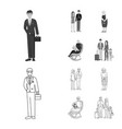 isolated object of character and avatar sign set vector image vector image