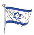 israel flag one continuous line abstract icon vector image