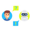 man chatting with chat bot vector image vector image