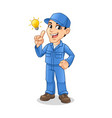 mechanic man get an idea with light bulb vector image vector image