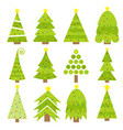 merry christmas fir tree icon set round ball vector image