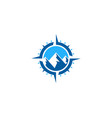 mountain compass logo icon design vector image
