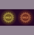 neon icon of yellow and orange sale badge vector image