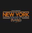 new york city athletic t-shirt design typography vector image vector image