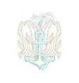 ocean underwater marine anchor seashell line art vector image vector image