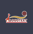 Paper sticker on stylish background giraffe logo vector image