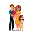 parents mom and dad holding little daughter vector image vector image