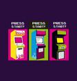 press start vintage arcade design vector image vector image